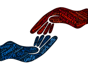 touching hands with words that promote connection and community