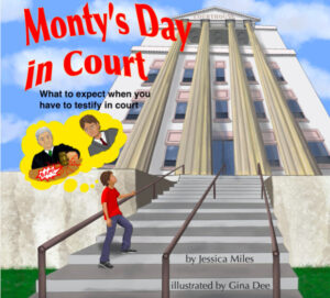 illustrated cover of courthouse with little boy. Title Monty's Day in Court