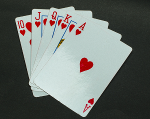 picture of a royal flush in hearts