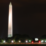 Photo of Washington monument at night