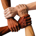 Hands of different colors representing community