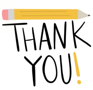 Thank you with yellow pencil above