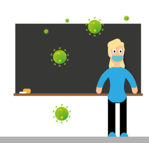 drawing of teacher with mask in front of blackboard with coronavirus scattered around