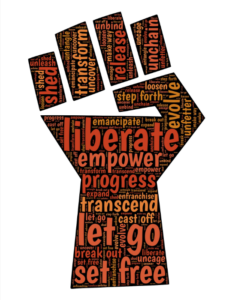 hand with empowering words
